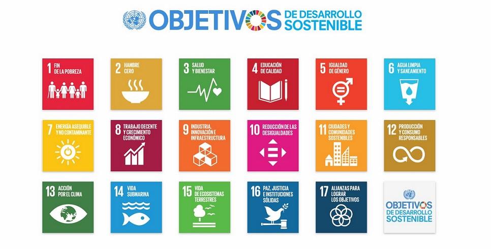 Dibujo con pictogramas de los objetivos de desarrollo sostenible.